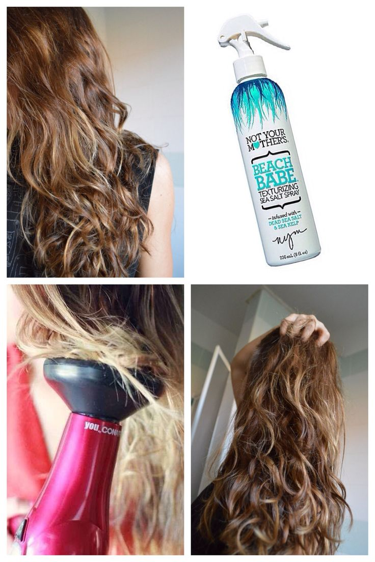 EASY BEACH WAVES : Apply Not Your Mothers Beach Babe sea salt spray to damp hair. Scrunch you hair with your fingers. Then dry using a diffuser. Wha-la! I do this on lazy days.