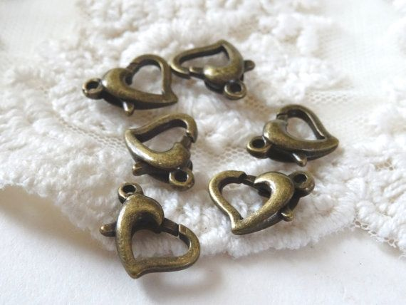 10 Bronze Heart Lobster Clasp Bracelet Ending Piece by BuyDiy