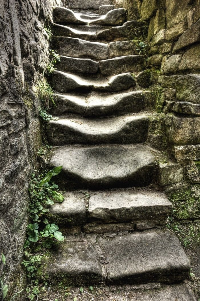 Ancient Steps - I'm thinking lots of armored footwear and probably hooves as well have aided natural erosion in breaking these steps down over hundreds of years   .   .   .   photo credit:  http://9wows.com/old-stairs/