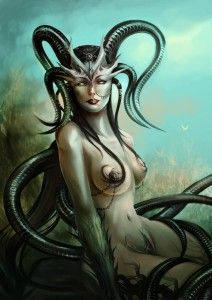 Gylou/Gello (Arabian & European) - Tempting and dangerous female demons that serve the Sinlord of Lust. Their gaze can turn female creatures pregnant with demon brood.