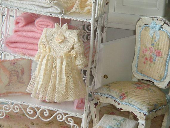 Valenciens girl dollhouse dress on hang. 1:12 girl dress for dollhouses.