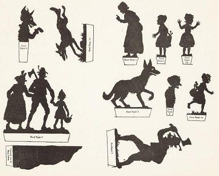 Le Petit Chaperon rouge conte planche d`ombres théâtre d`ombres ombres chinoises silhouettes marionnettes