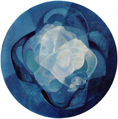 blue kinetic painting - naum gabo