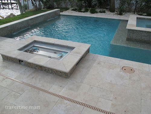 Ivory Tumbled Travertine Pavers Modern Pool Miami