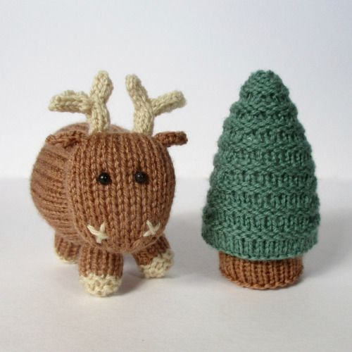 "amandaberryknitting:  "" René the Reindeer frolics in the forest.  Knitting pattern from  http://www.ravelry.com/patterns/library/rene-the-reindeer  """