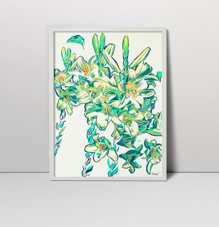 Lily original serigraph - Lily flower art - Floral still life  - Lily screenprint  - Lily painting - Lilies wall art - White lily art - lily by komarovart on Etsy