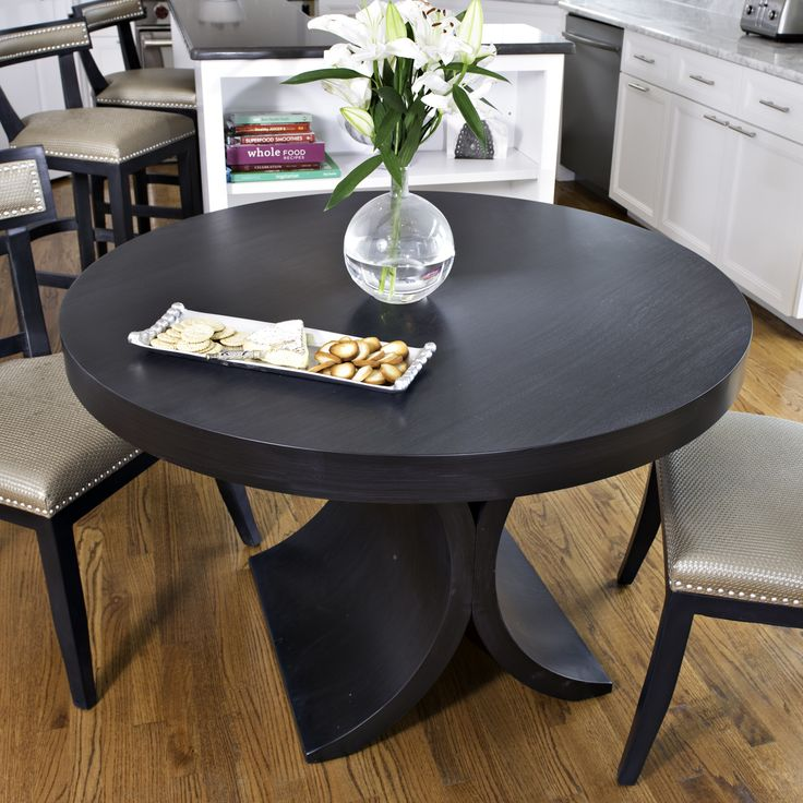 """Grace 48"""" Round Dining Table in Dark Gray"""