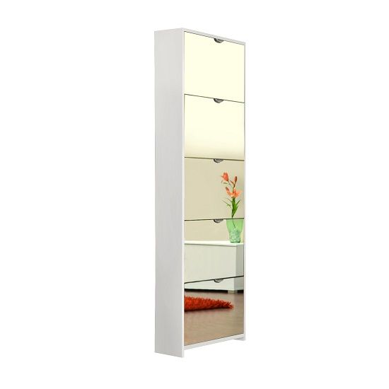 boddem shoe cabinet in white with 5 flap doors in mirror front looks in your entrance hall doors make a statement with shoe storage cabinet