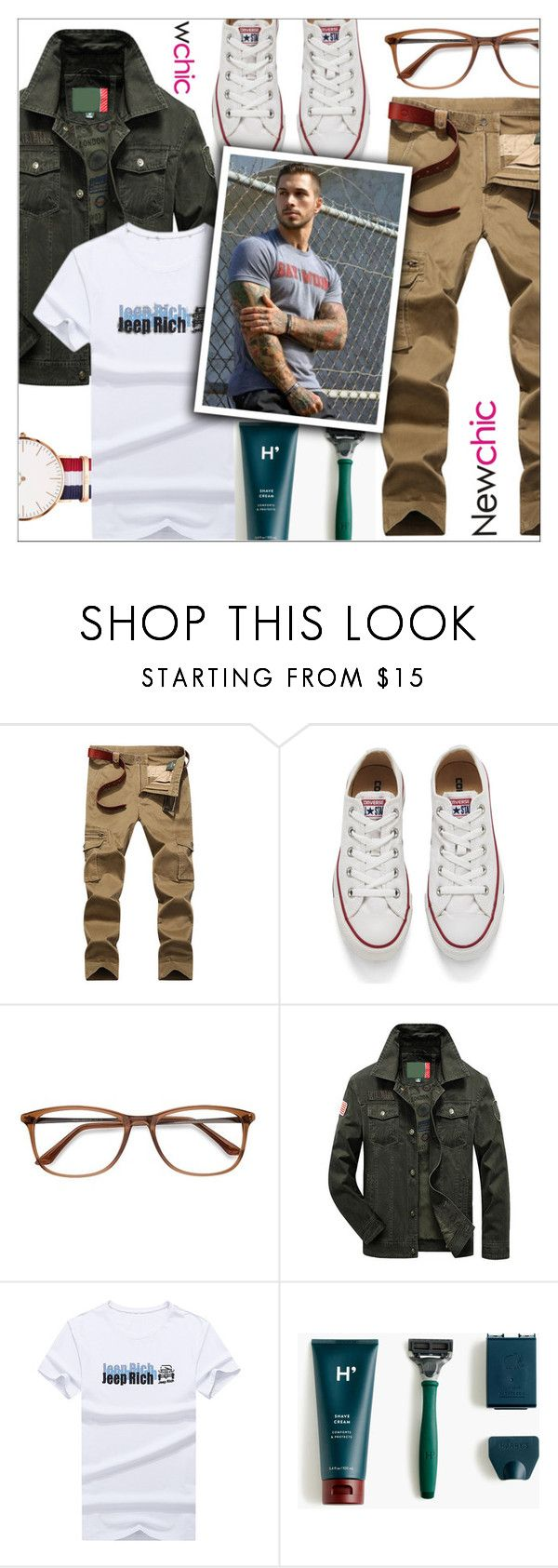 """""""Men's Fall Style / Newchic"""" by yoa316 ❤ liked on Polyvore featuring Converse, EyeBuyDirect.com, J.Crew, Daniel Wellington, men's fashion and menswear"""