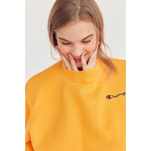 Champion + UO Mini Logo Crew-Neck Sweatshirt ($55) ❤ liked on Polyvore featuring tops, hoodies, sweatshirts, crewneck sweatshirt, champion sweatshirt, long sleeve sweatshirts, yellow top and crew neck sweatshirts