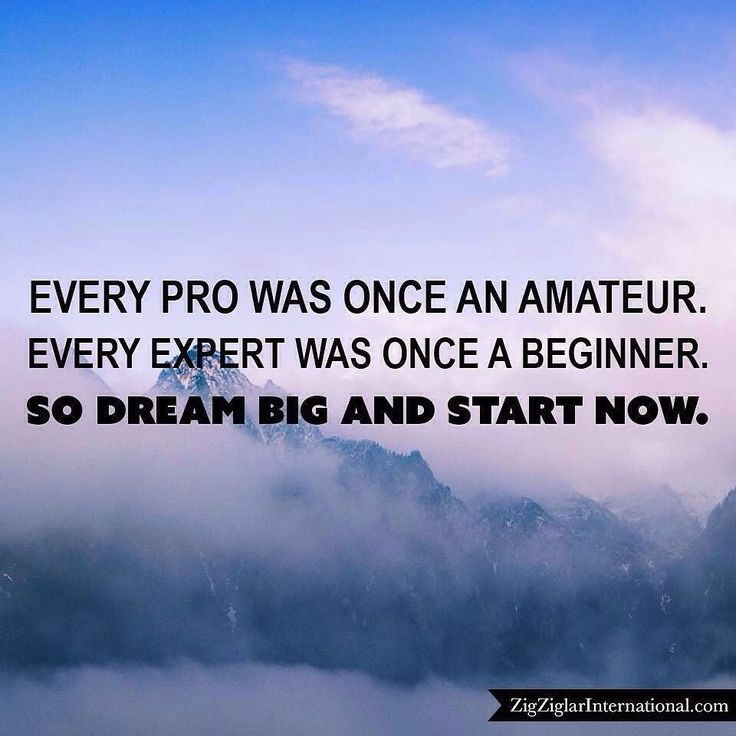 Every pro was once an amateur. Every expert was once a beginner. So dream big and start now. budurl.com/SBD87062 by thezigziglar