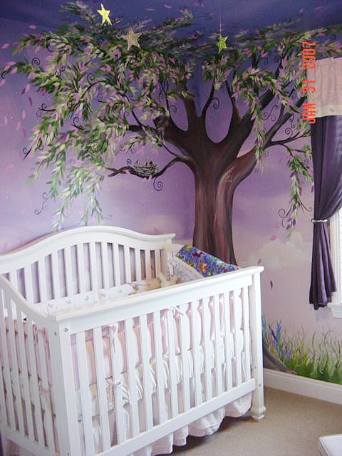 Our future daughter will have a hand painted mural done by daddy.