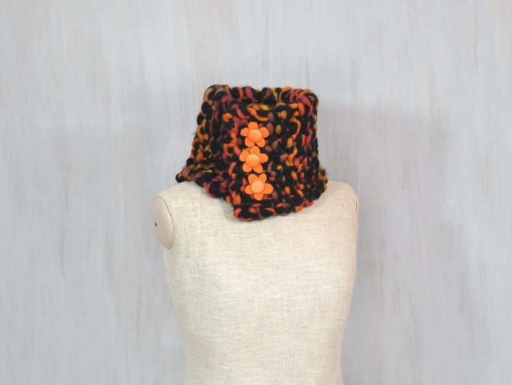Chunky merino scarf, soft woolen scarf, brown black orange wool, textile flowers, neck warmer, soft, thick wool, OOAK - pinned by pin4etsy.com