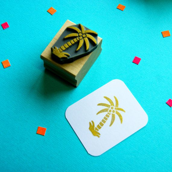 Tropical Palm Tree Rubber Stamp by Skull and Cross Buns