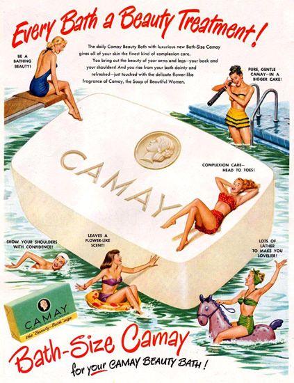 Camay Soap Ad 1949 - www.MadMenArt.com - still remember the slogan: The Soap for Beautiful Women.
