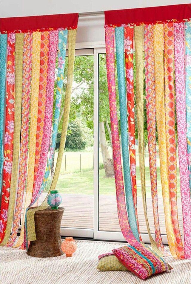 Las 25 mejores ideas sobre cortinas coloridas en pinterest for Cortinas estampadas salon