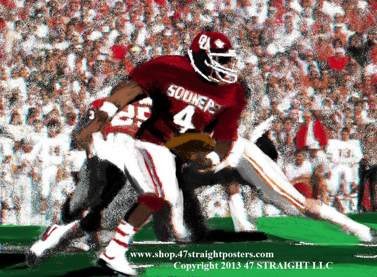 Father's Day gift ideas. OU Sooners football art on canvas. OU Sooners gifts from 47 STRAIGHT.™ 1986 OU vs. Texas football art. Jamelle Holieway runs the option against the Texas Longhorns. Available soon. Unique Father's Day sports gifts made from over 2,000 historic college football tickets and other authentic sports art. #47straight