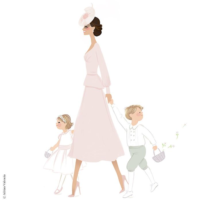 Kate was drawn with her children, Prince George and Princess Charlotte. Copyright: Adrian Valencia. Instagram: @drawadriandraw - www.adrianvalencia.com