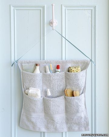 "Another pinned said: Perfect!  Hang behind bathroom door to keep all my extra ""stuff"" out of the way.    From marthastewart.com    Terry-Cloth Caddy  Clear off bathroom countertops by storing toiletries in a hanging organizer. To make one, just stitch a few seams in a hand towel.  Caddy How-To"