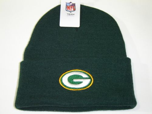 Authentic NFL Green Bay Packers Green Classic Team Logo Cuffed Knit Winter Beanie Hat Cap
