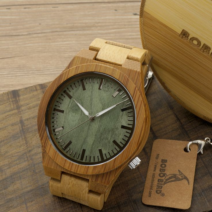 BOBO BIRD 2016 New Arrival Men's Bamboo Wood Wristwatch Ghost Eyes Genuine Leather Strap Glow Analog Watches with Gift Box Who like it ?  #shop #beauty #Woman's fashion #Products #Watch