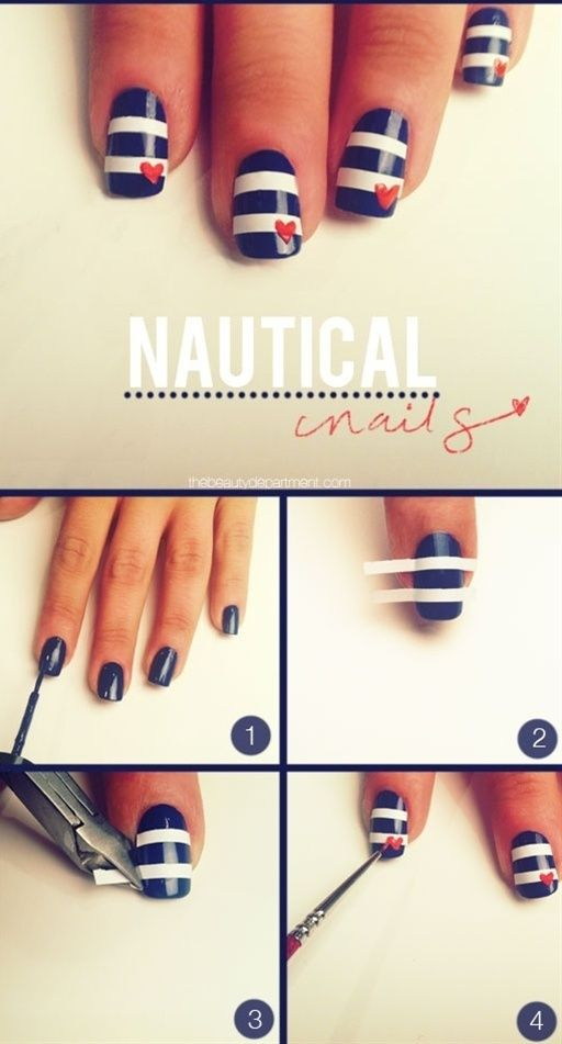 Nautical Nails To make these nautical nails you need navy blue nail polish, white-out tape, red nail polish, and a very fine brush. Start by painting your nails navy blue. Cut a half an inch strip off of the whiteout tape. Then cut it in half vertically. Once your nails are dry space the tape out on the nail. Cut off any excess.