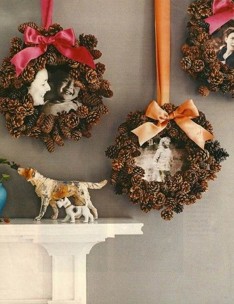 2014 Christmas Pinecone wreath Crafts, 2014 Christmas Pinecone wreath photo frame Crafts idea, Christmas Pine cone ornaments DIY