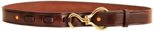 """Havana Leather Hoof Pick    1 1/4"""" leather belt with brass or nickel silver hoof pick closure. This leather hoof pick belt is made out of creased heavy weight English bridle leather. The hoof pick is attached to the leather belt with two snaps. Made in the USA.   Price: $37.95"""