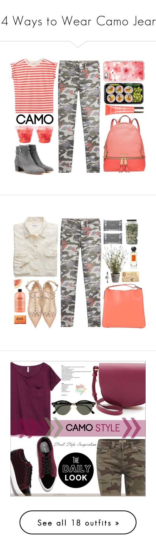 """""""14 Ways to Wear Camo Jeans"""" by polyvore-editorial ❤ liked on Polyvore featuring camostyle, waystowear, camojeans, True Religion, Lee, MICHAEL Michael Kors, Gianvito Rossi, By Terry, Casetify and Allstate Floral"""