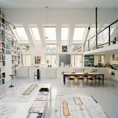 Loft by Carouschka Streijffert  Conversion of attic space into a loft in Stockholm.