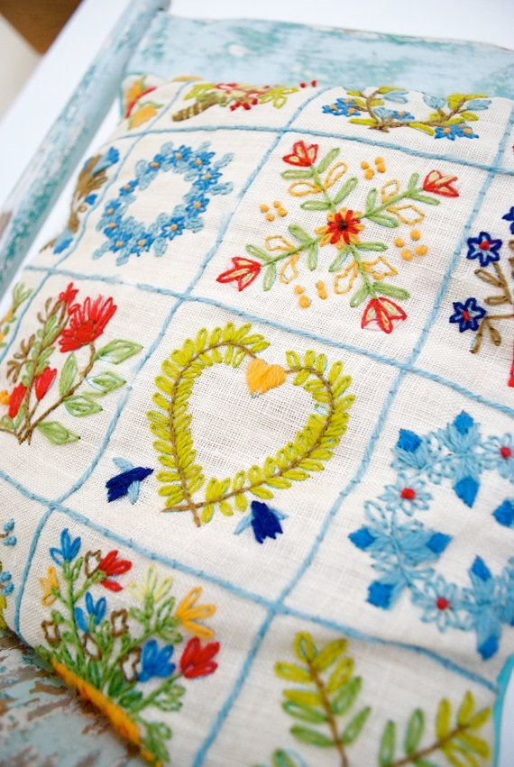 beautiful embroidered pillow