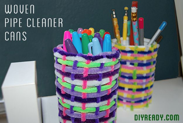 Woven Pipe Cleaner Cans   Simple DIY project for your kids. #DiyReady www.diyready.com