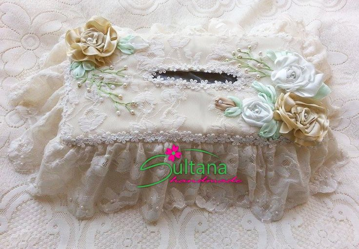 Handmade embroidery with silk ribbons tissue cover for more visit https://www.facebook.com/sultanahandmade