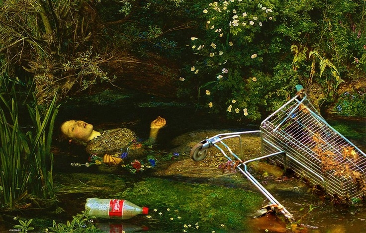 Ophelia by John Everett Millais -- redux graphic by Bruce Sterling