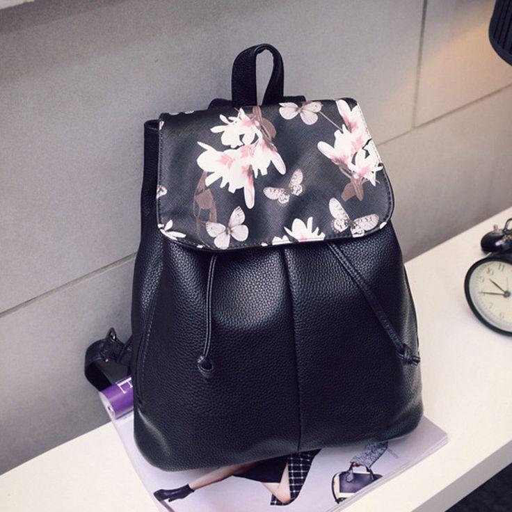Girl Leather School Bag Travel Backpack Satchel Women Shoulder Rucksack Floral | eBay