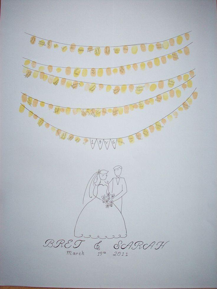 Fingerprint Art-hand drawn for an alternative guest book for weddings!!