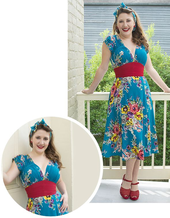Lindsay is lovely in the 1940's Dress! The Turquoise Floral Bandana and Jeffrey Campbell Graham Heels (available at our Uptown Shoe Boutique for $140) complete the look.
