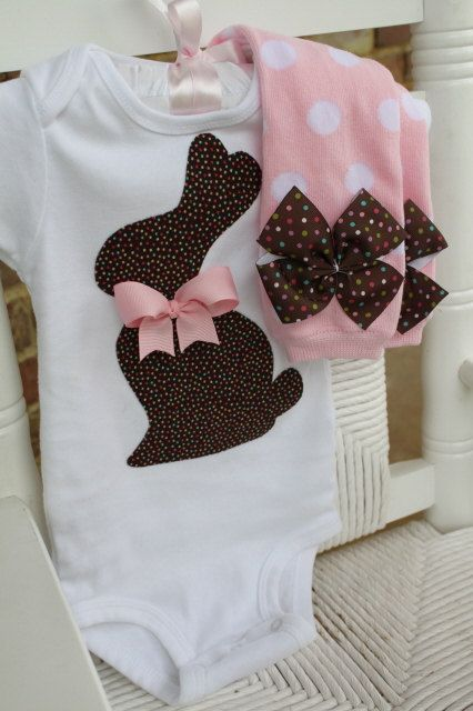 Baby Girl Easter Outfit -- Chocolate Bunny Easter Outfit --  Onesie and Leg Warmers -- pink and brown polka dots CONEJITO