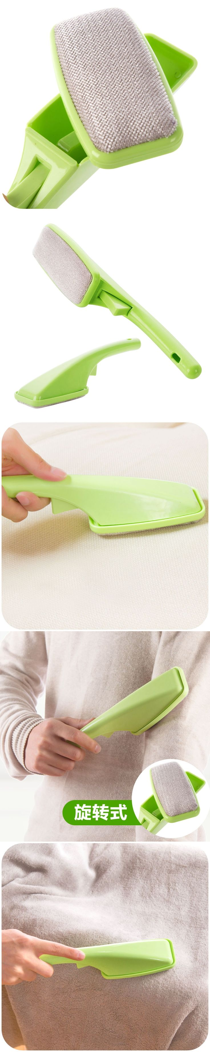 Rotatable electrostatic bristles on dry wash clothes, clothes dusting brush hair removal device