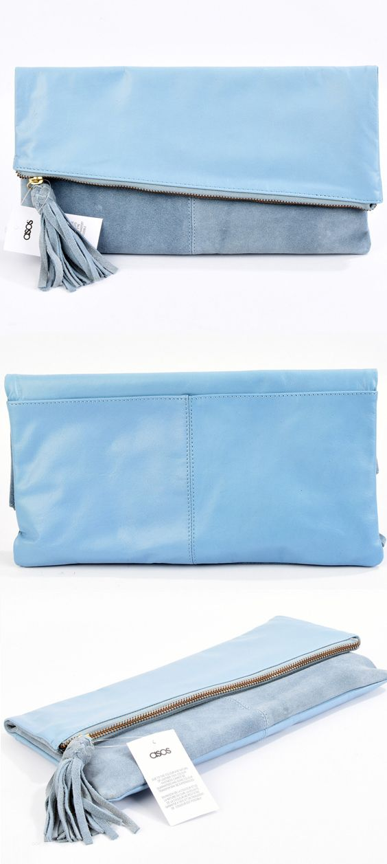 Ladies Serenity Blue Powder Blue Fold Over Leather Envelope Clutch Bag. ASOS ladies bags. Pretty Powder Pale Blue in Leather and Suede, perfect for a Day at the races, Easter or Spring Wedding Guest Outfit. Or Popular colour for Mother of the Bride Outfits #motherofthebride #fashionsonthefield #racingfashion #bags #clutchbag #asos #asosfashion #fashion #bagaddict #affiliatelink #ebayfashion #outfits #outfitideas