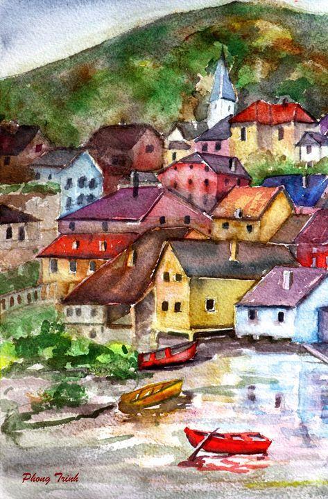 Lods Sur La Loue 1 - Phong Trinh Watercolor Fine Art Print Avail. At: http://www.artpal.com/phongtrinh/