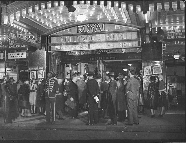 """Opening night, """"Hollywood Hotel Revue"""" (taken for Fuller's Theatres Ltd), Theatre Royal, Sydney, 23 September 1938 / photographer Sam Hood more detailed information about this photographic collection: http://acms.sl.nsw.gov.au/item/itemDetailPaged.aspx?itemID=23988 from the collection of the State Library of New South Wales : www.sl.nsw.gov.au/"""