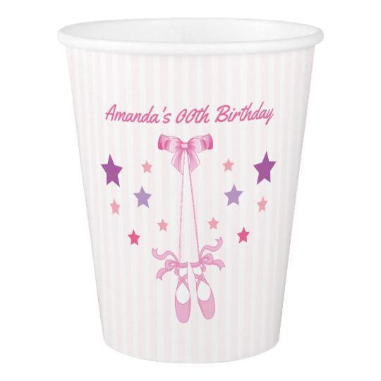 Pink Ballerina themed Birthday Party personalized Paper Cup