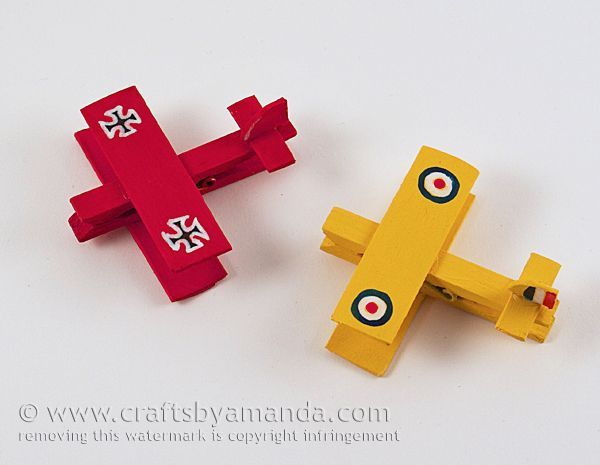 Snoopy and The Baron Clothespin Airplanes