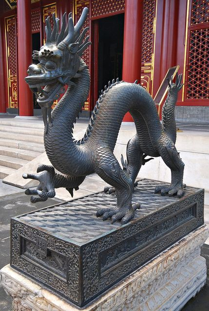 A beautiful dragon sculpture standing in Beijing, China -https://www.facebook.com/mytravelswithmymumblog http://www.mytravelswithmymum.com/destinations-beijing-forbidden-city/