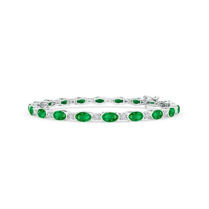 Angara Bezel-Set Sapphire and Diamond Station Bracelet with Chain uHDEpljm
