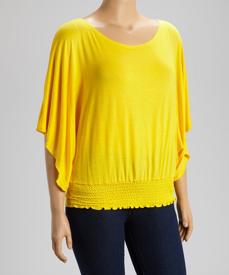 Yellow Smocked Dolman Top - Plus