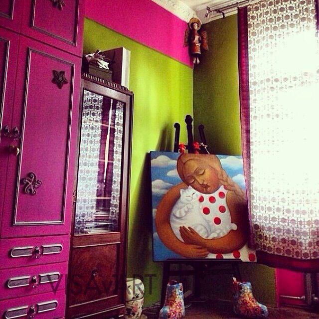 """pink room for girl  комната для девочки МАСТЕРСКАЯ VISAvART Елизавета Козырь картина """"девочка с котом"""" (холст, темпера. доступна для продажи)"""