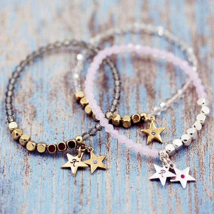 glittery swarovski star stretch bracelet by j & s jewellery | notonthehighstreet.com