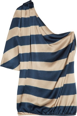 Lanvin one-shoulder champagne & navy blue striped satin top. Love this top - if only I could find this in a slightly more affordable price!